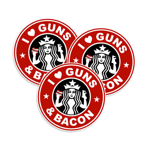 I Love Guns & Bacon Stickers