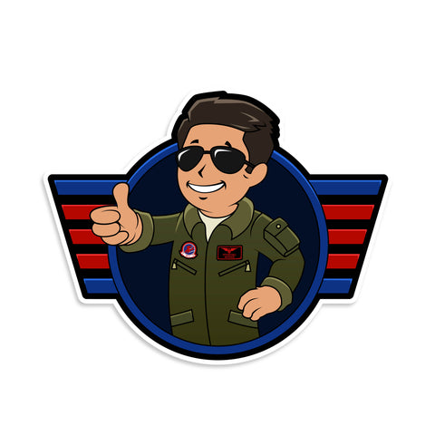 Top Gun Maverick Vault Boy Mashup Vinyl Sticker