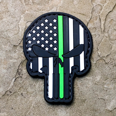 Punisher Thin Blue and Thin Green Line - PVC Morale Patch
