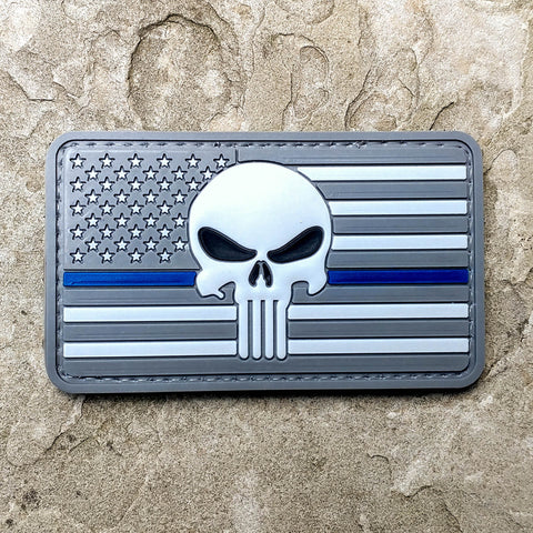Punisher US Flag Thin Blue Line Subdued