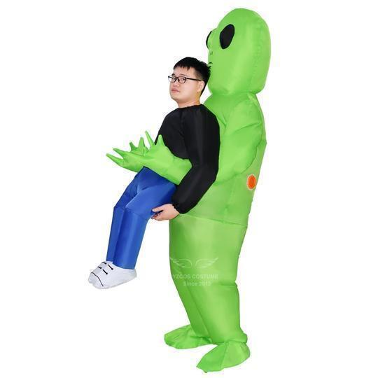 Green Alien Carrying Human Costume