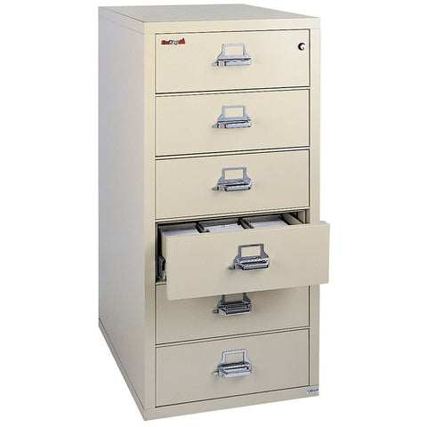 "Fire King 6 Drawer 31"" Depth Card-Check-Note Fireproof File Cabinet 6-2552-C"