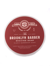 Load image into Gallery viewer, Brooklyn Barber  The Classic of all shaving soaps.  Described as a sophisticated barbershop scent.  Scent Profile:  This is a clean, classic scent, that will take you back to the barbers chair.  We took the traditional barbershop scent, and put our twist on it.  The result is a soap you will want to use daily, that will leave you smelling amazing, and wanting more!  Notes:  Barbershop (based on Rive Gauche by YSL) A blend of Lavender, Star Anise, Rosemary, Geranium, Vetiver, Oakmoss, Oud, and Bergamot.