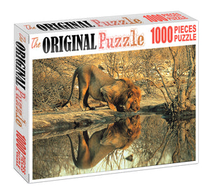 Thirsty Lion is Wooden 1000 Piece Jigsaw Puzzle Toy For Adults and Kids