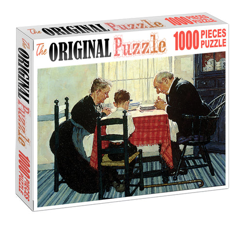 Prayer at Dinner Table is Wooden 1000 Piece Jigsaw Puzzle Toy For Adults and Kids