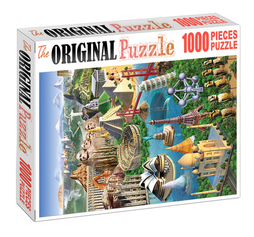3D Modelling of 7 Wonders is Wooden 1000 Piece Jigsaw Puzzle Toy For Adults and Kids