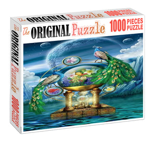 Peacock Sphere Wooden 1000 Piece Jigsaw Puzzle Toy For Adults and Kids
