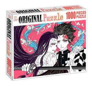 Tanjiro and Sister Wooden 1000 Piece Jigsaw Puzzle Toy For Adults and Kids