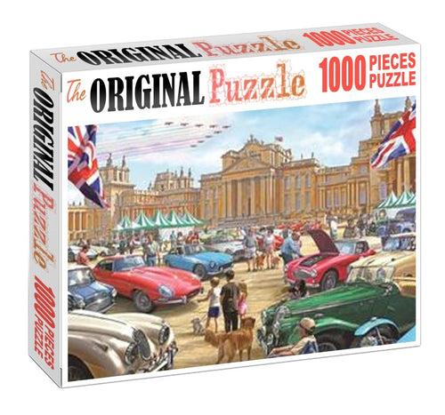 Vintage Car Exhibition Wooden 1000 Piece Jigsaw Puzzle Toy For Adults and Kids