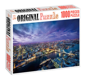 Ariel view of London City Wooden 1000 Piece Jigsaw Puzzle Toy For Adults and Kids