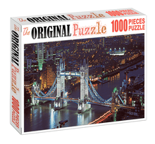 Twin Tower Bridge at Night is Wooden 1000 Piece Jigsaw Puzzle Toy For Adults and Kids