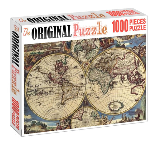 Ancient Map of the World is Wooden 1000 Piece Jigsaw Puzzle Toy For Adults and Kids