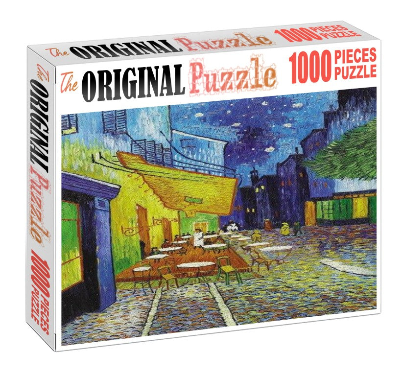 Restaurant Drawing is Wooden 1000 Piece Jigsaw Puzzle Toy For Adults and Kids