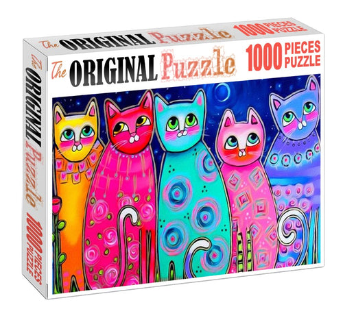 Cat's Oil Pastol Drawing is Wooden 1000 Piece Jigsaw Puzzle Toy For Adults and Kids