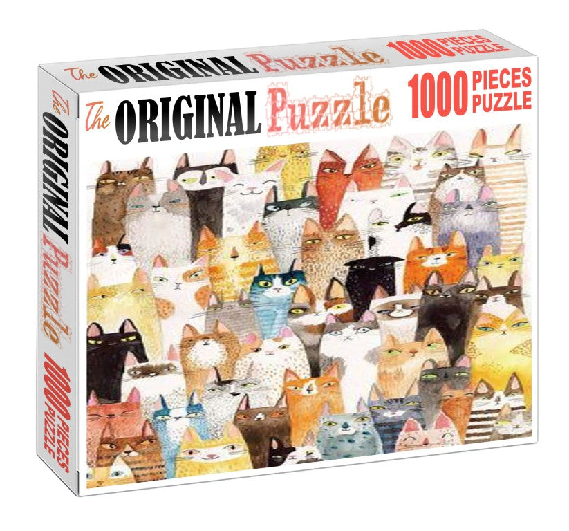 Cats Group is Wooden 1000 Piece Jigsaw Puzzle Toy For Adults and Kids