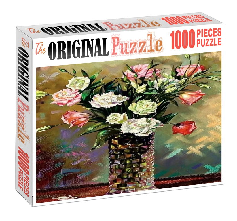 White Rose Vase is Wooden 1000 Piece Jigsaw Puzzle Toy For Adults and Kids
