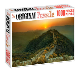 Great Wall Sunset Wooden 1000 Piece Jigsaw Puzzle Toy For Adults and Kids