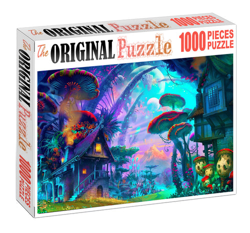 Mushroom World is Wooden 1000 Piece Jigsaw Puzzle Toy For Adults and Kids
