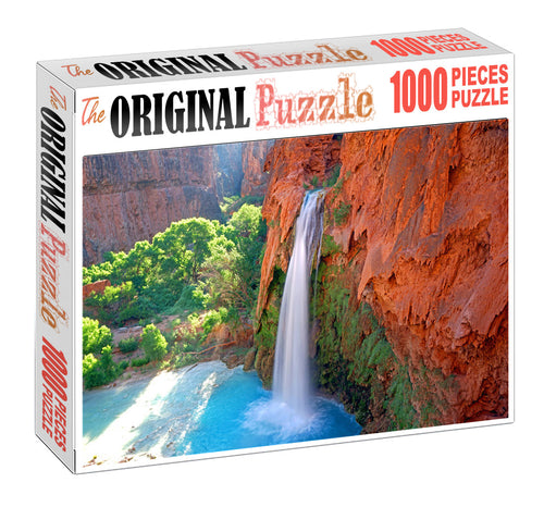 Red Mountain Waterfall Wooden 1000 Piece Jigsaw Puzzle Toy For Adults and Kids