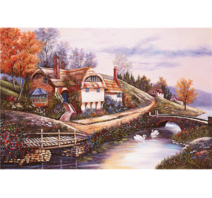 Village Home Scenery is Wooden 1000 Piece Jigsaw Puzzle Toy For Adults and Kids