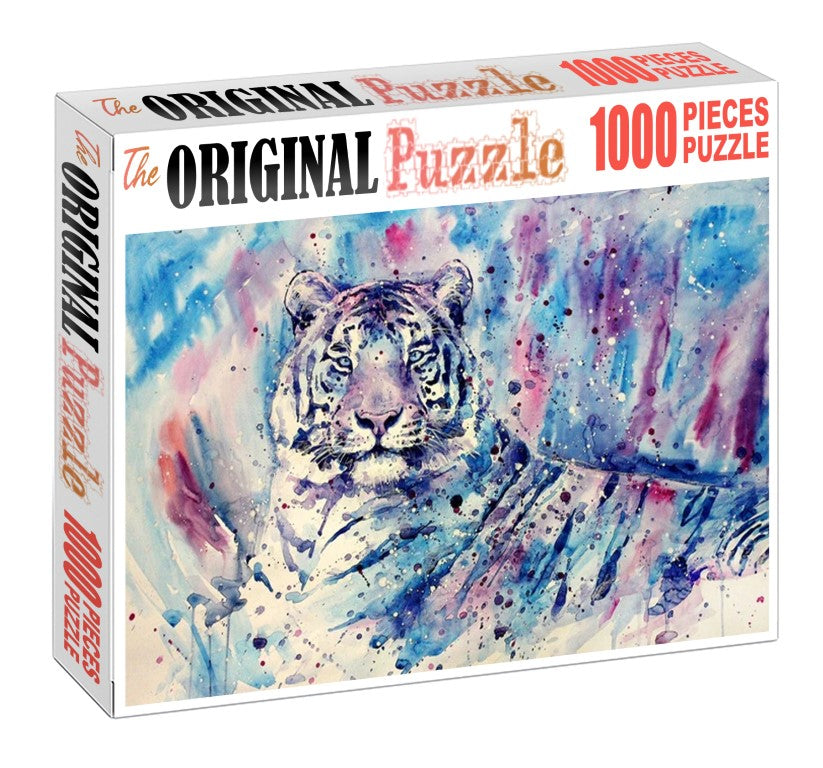White Tiger Spray Paint is Wooden 1000 Piece Jigsaw Puzzle Toy For Adults and Kids