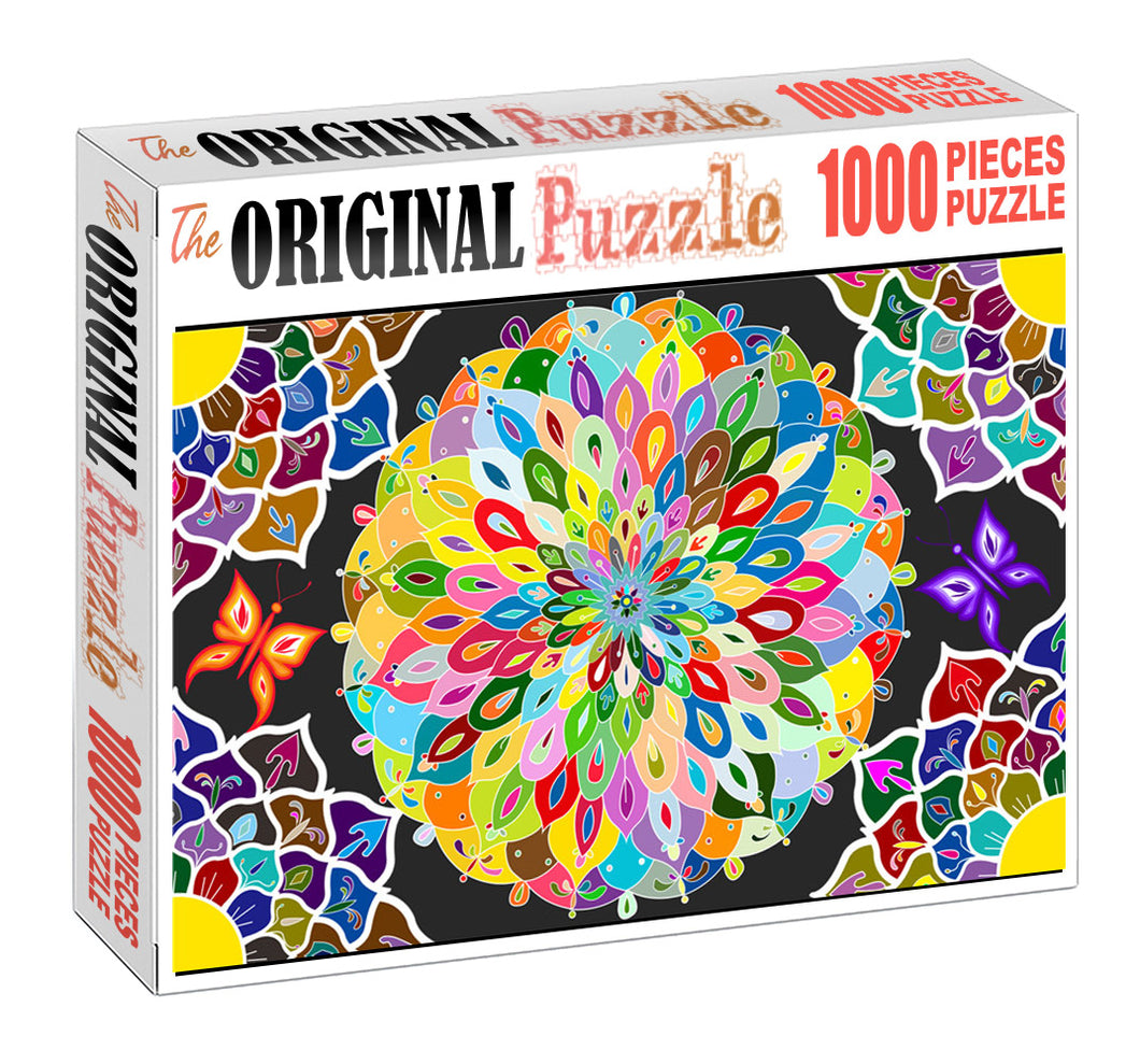 Floral Mandela Wooden 1000 Piece Jigsaw Puzzle Toy For Adults and Kids