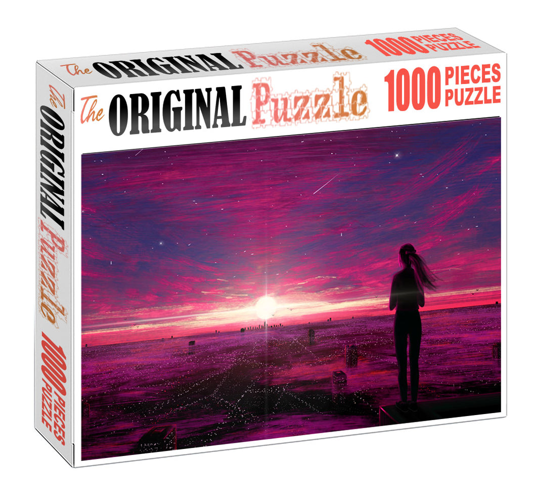 Soul Pink Rays Wooden 1000 Piece Jigsaw Puzzle Toy For Adults and Kids