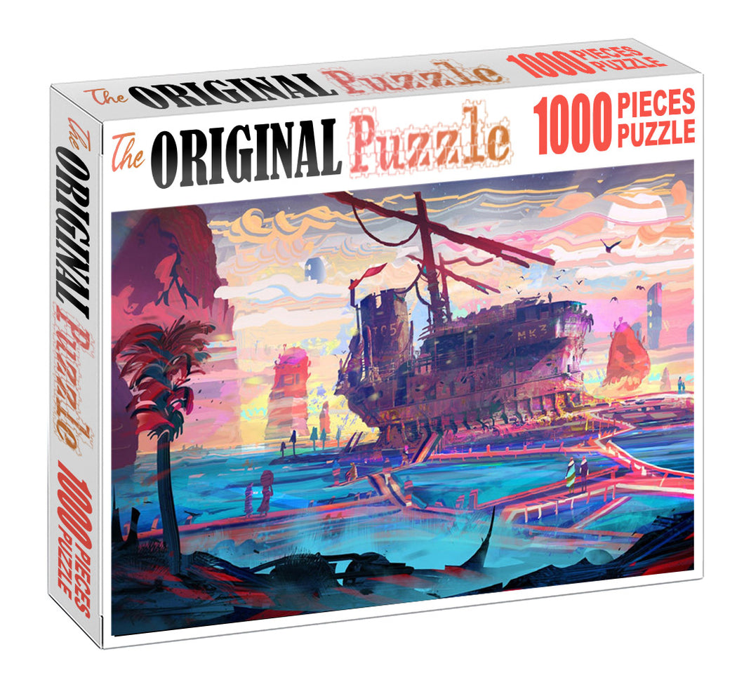 Old Ship Wreck is Wooden 1000 Piece Jigsaw Puzzle Toy For Adults and Kids