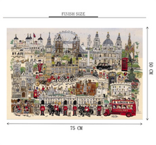 London Tour Artwork Wooden 1000 Piece Jigsaw Puzzle Toy For Adults and Kids