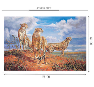 Cheetah Searching is Wooden 1000 Piece Jigsaw Puzzle Toy For Adults and Kids