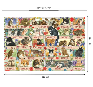 Family Name of Cats Wooden 1000 Piece Jigsaw Puzzle Toy For Adults and Kids