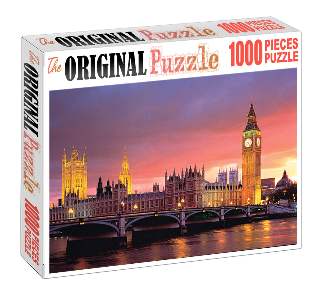 London Clock Tower Wooden 1000 Piece Jigsaw Puzzle Toy For Adults and Kids
