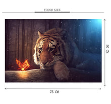 Tiger and a Glowing Butterfly is Wooden 1000 Piece Jigsaw Puzzle Toy For Adults and Kids