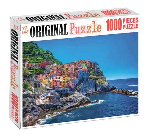 Cave City near Sea Wooden 1000 Piece Jigsaw Puzzle Toy For Adults and Kids