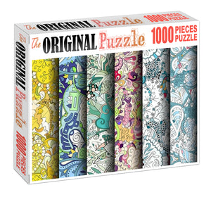 Fabric Floral Arts Wooden 1000 Piece Jigsaw Puzzle Toy For Adults and Kids