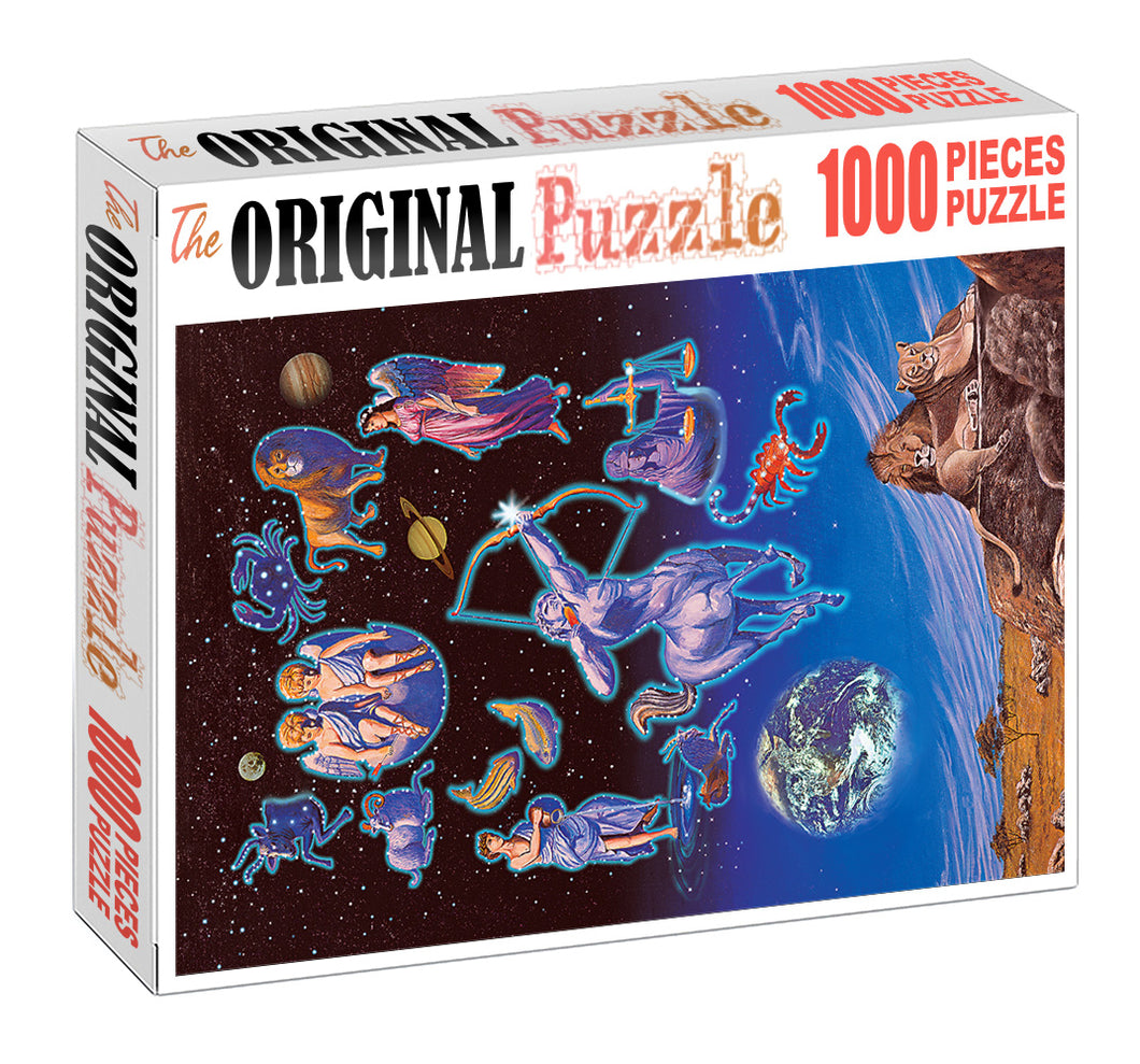 Lions Zodiac Art Wooden 1000 Piece Jigsaw Puzzle Toy For Adults and Kids