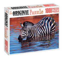 Zebra in Pond is Wooden 1000 Piece Jigsaw Puzzle Toy For Adults and Kids