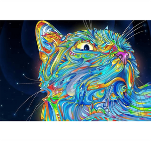 Neon Cat Wooden 1000 Piece Jigsaw Puzzle Toy For Adults and Kids