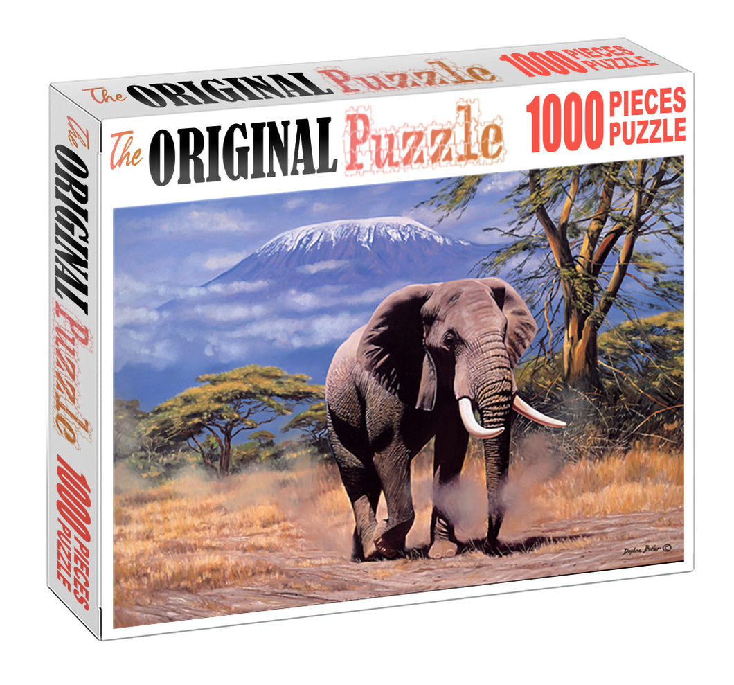 African Elephant Wooden 1000 Piece Jigsaw Puzzle Toy For Adults and Kids