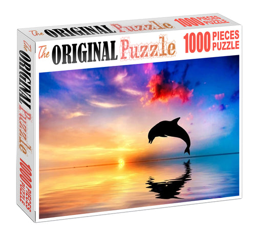 Dolphin Sunset Wooden 1000 Piece Jigsaw Puzzle Toy For Adults and Kids