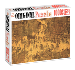 Weekly Village Market is Wooden 1000 Piece Jigsaw Puzzle Toy For Adults and Kids