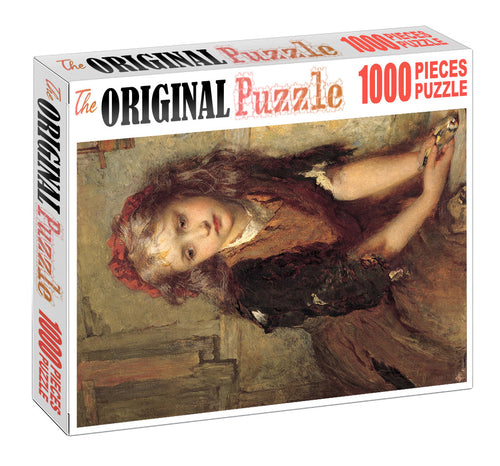 Cute Lonely Girl is Wooden 1000 Piece Jigsaw Puzzle Toy For Adults and Kids