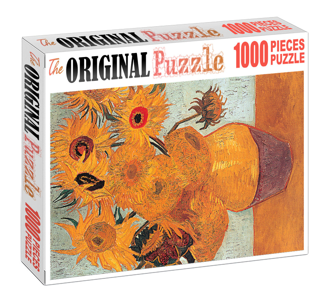 Sun Flower Pot is Wooden 1000 Piece Jigsaw Puzzle Toy For Adults and Kids