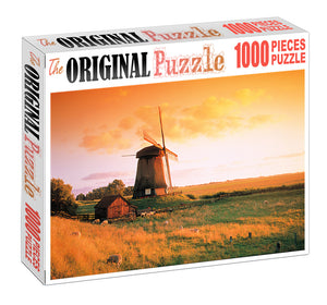 Village Windmill is Wooden 1000 Piece Jigsaw Puzzle Toy For Adults and Kids