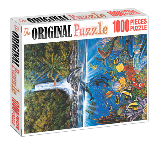 Jungle Dolphin is Wooden 1000 Piece Jigsaw Puzzle Toy For Adults and Kids