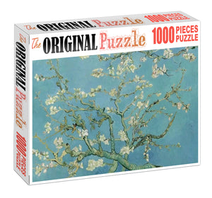 White Blosssom Flowers Wooden 1000 Piece Jigsaw Puzzle Toy For Adults and Kids