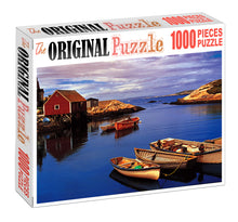 Boats on Dock is Wooden 1000 Piece Jigsaw Puzzle Toy For Adults and Kids