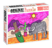 Cowboy Cucumber Drawing Wooden 1000 Piece Jigsaw Puzzle Toy For Adults and Kids