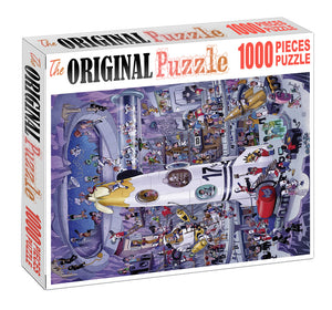 Rocket Garage is Wooden 1000 Piece Jigsaw Puzzle Toy For Adults and Kids