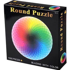 Moruska Round Rainbow Puzzle Wooden 1000 Piece Jigsaw Puzzle Toy For Adults and Kids